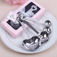 Wholesale Heart Shaped Spoons Wholesale - Wholesale- Free Shipping 4pcs lot Heart shape Measuring Spoons Wedding Souvenirs Wedding Gifts Pack in Gift Box