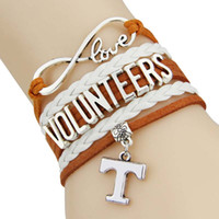 Atacado- (12 Pieces / Lot) Infinity Love NCAA Tennessee Voluntários Sports Team Bracelet Orange White Custom Sports Bracelet Drop Shipping