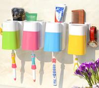 наборы крючков для чашек оптовых-счастливый familyToothbrush стены всасывания ванной наборы чашки присоски держатель зубной щетки / всасывания крючки