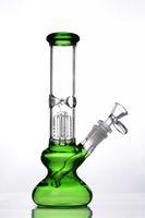 zoll glas wasser pfeifen perkolator grün großhandel-Oil Rigs Recycler Glas Bongs Wasserpfeifen Wasserpfeifen Dab berauschenden Becher Percolator Konzentrat Bong Rohr 14 mm Joint 10 Zoll groß schwarz grün