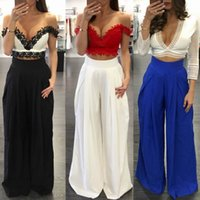 Wholesale Loose Fashion Trousers Ladies - Women Pants Summer Fashion Solid Wide Leg High Waist Loose Fold Casual Long Chiffon Pantsskirt Multicolors Ladies Trousers Culottes Bottoms