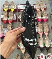 Wholesale Genuine Leather Ballerina Shoes - 2017 hot sales valen Shoes Ballerinas free shipping Fashion Women Rivet Shoes Flats Genuine Leather Ankle Strap Pointed Toe Studded