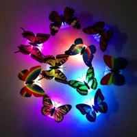 Wholesale Plastic Lamp Pieces - Butterfly Small Night light Decorative Wall Lamp Decorate Luminescence Scalewing Can Paste Creative Novelty Hot Sale 1 15ms R