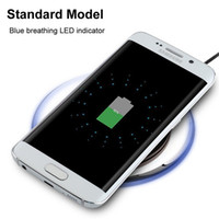 Wholesale s3 crystal - Universal Qi Wireless Charger pad White Black Crystal Led light Wireless charger for samsung s3 s4 s6 s7 edge for iphone 5 6 7