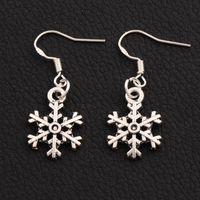 Wholesale Tibetan Charms Heart - 925 Silver Arched Snowflake Charm Pendant Earrings 40pairs lot 14.4x35.1mm Tibetan Silver Fish Ear Hook E794