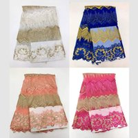 Wholesale Organza Wedding Embroidered Lace Fabric - high quality african beaded laces, 2017 organza nigerian laces fabric with stones for wedding dress sewing JSDDC3-2