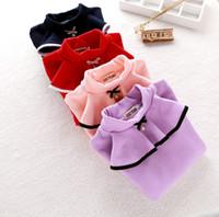 Wholesale Velvet Fashion Blouse - Children T-shirt winter girls falbala velvet thicken warm bottomings blouses kids BOWS pearl high collar long sleeve princess tops R0250