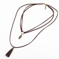 Wholesale Tassel Fringe Necklace - Vintage Steampunk Choker colar Women Long Brown Faux Leather Multi Layer Rope Necklace Leaf Tassel Fringe Pendants Necklaces