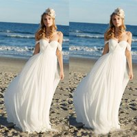 Wholesale Lace Bust Wedding Gowns - 2017 Modest Beach Wedding Dresses Off Shoulder Plus Size Ruched Bust Sweetheart Chiffon A Line Lace Up Back Bridal Gowns