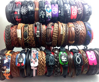 Mix lot 50pcs Men Women Fashion Leather Bracelets Wristbands Boy Girls Charm Cuff Party Gift Atacado Jóias