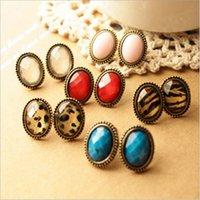 Wholesale Diamond Leopard Jewellery - Vintage cameo ear stud earring ellipse leopard red blue white diamond earrings jewellery assorted Colour