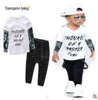 Wholesale Tattoo Sleeve Set - Skull Letters Printed Kids Tattoo Sleeves T-shirt + Pants 2Pcs Outfits Ins Clothes Boys Clothing Set Baby Boys Clothes Boutique Clothing 611