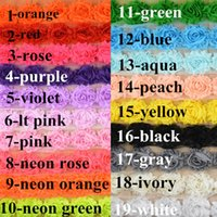 Wholesale Shabby Frayed Chiffon Flowers Wholesale - chic shabby frayed chiffon flowers,chiffon Rosette flowers 19 solid colors 100pcs lot can Do It Yourself Headband xth076