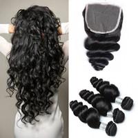 gevşek örgü saç uzantıları toptan satış-Brezilyalı Gevşek Dalga Saç Örgüleri Kapatma Ücretsiz Orta 3 Bölüm ile 3 Paketler Çift Atkı İnsan Saç Uzantıları Boyanabilir İnsan Saç Dokuma