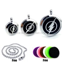 Wholesale Flash Oil - Round Steel Flash Desgin (20-30mm) Stainless Steel Essential Oils Locket Aromatherapy Locket Pendant with Free Chain