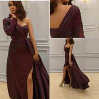 Wholesale Dresses One Sleeve Custom Made - 2017 Sexy One Shoulder Prom Dresses Arabic Elegant Burgundy Custom Made Long Sleeves Slit Evening Wear Plus Size Vestidos De Novia