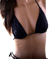 Wholesale Fashion Body Chain Necklace - GEMIN 2pieces(1 piece as a gift) New Design Fashion Women Sexy Golden Body Belly Waist Charm Chain Bikini Beach Pendant Necklace