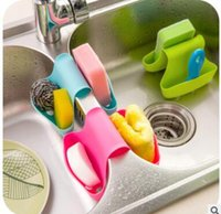 Wholesale Hot Selling Silicone Double Sink Caddy Saddle Style Kitchen Organizer Storage Sponge Holder Rack Tool Draining Rack Kitchen Tools