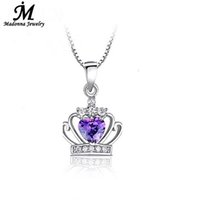 Wholesale Silver Queen Crown - Wholesale- Fashion Women Luxury White purple Crystal Pendant Queen Crown Princess Dream Modern Pendant Silver Plated Jewelry Jewelry