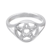 Wholesale Ring Brief - Alloy Rings Fashion Women Brief Vintage Quality Rhinestone Antique Silver Plated Five-point Star Alloy Finger Rings Beautiful Cute Mens Ring