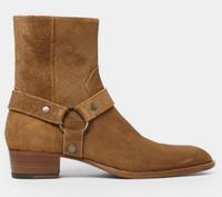 ingrosso scarpe da cammello-2017 Uomo Fashion Slp Classic Stivali Wyatt 40 Harness In Camel Suede Scarpe da uomo