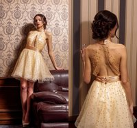 Wholesale Images Dance - Gold Short Prom Dresses High Neck Halter Pleated Tulle Dance Evening Party Dresses Keyhole neckline Backless Cocktail Dresses With Pearls