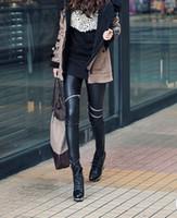 ingrosso gambali cerniera a ginocchio-I produttori di moda europei e americani vendono leggings in pelle da donna con cerniera sul ginocchio e leggings in pelle da donna