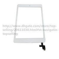 Wholesale Glass Panel Connector - 20Pcs High Quality Touch Screen Glass Panel with Digitizer with ic Connector Buttons for iPad Mini 1 2 Black and White