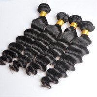 Wholesale human hair wefts deep waves for sale - Group buy Brazilian Human Remy Virgin Hair Loose Deep Wave Hair Weaves Natural Color g bundle Double Wefts Bundles Hair Extensions