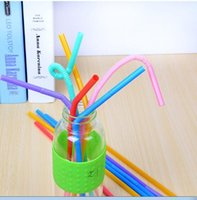 Wholesale Soy Milk Wholesale - Wholesale special straw, juice milk tea, soy milk drink straw, 100 sets of multi color long bend, suck the house bar, drink chicken tail