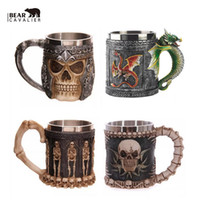 Wholesale Skull Knight - Wholesale- new Personalized Double Wall Stainless Steel 3D Skull Mugs Coffee Cup Mug Skull Knight Tankard Dragon Drinking Cup Canecas Copo