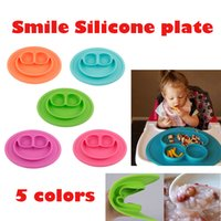 Wholesale Smile Silicone Feeding Food Plate Tray Dishes Food Holder for Baby Toddler Kid Children colors