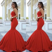 Wholesale Black Satin Fit Flare - Elegant Mermaid Prom Dressess Fit and Flare Trumpet Red Prom Dress Sweetheart Sleeveless Long Formal Evening Party Gowns
