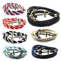 Wholesale Anchor Charm Bronze - Ivolador Handmade Braided Leather Vintage Boat Anchor Wristband Bangle Bracelets Jewelry-Bronze Navy