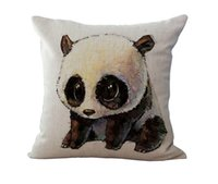 Wholesale Cover Pillows China - 18 Inches Of Fashion China Panda Pattern Cushion Cover Pillowcase Sofa Seat Pillow Cover Car Supplies Car Covers Home Decor