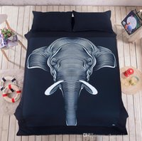 Wholesale Elephant black flat sheet quilt cover pillowcase flat sheet Bedding Set pillowcase linen bedclothes Cover cotton dorm room Romantic bedroom