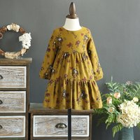 Wholesale Girls Pure Cotton Flowered Dresses - New Pricness Dress Children Clothes Long Sleeve Floral Printed Kids Girls Dresses Pure Cotton Flower Girl Party Dress Blue Yellow A7500