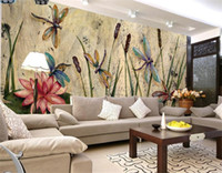 ingrosso arte pittura a olio di loto-Personalizzato Libellula Lotus Mural Wallpapers Eurpoean Vintage Large Photo Murales Pittura a olio Stampa Decal Wall Art Wall Paper