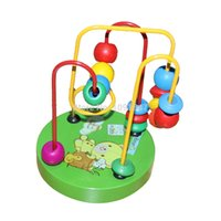 Wholesale wisdom kids toys - Wholesale- Toys Baby Education Development New Wooden Disk Beads Kids Wisdom Plaything New