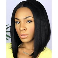 Wholesale Sexy Straight Black Hairstyle - Brazilian Human Hair Wigs Sexy Short Bob Cut Straight Short Human Hair Wigs Bob Cut Style Glueless Full Lace Wigs for sale