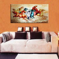 Wholesale Horse Abstract Wall Oil Paintings - Single Unframed Eight Horses Running Abstract Animal Painting Wall Art Oil Painting On Canvas for Living Room Decor