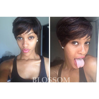 Elegante Short Human Natural Black Hair Glueless Wig Full Lace African American Brazilian Lace Frente Peruca Nada Lace Wig