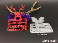 Wholesale Picture Cards - Christmas deer DIY metal die cutting die stencil for Scrapbook Card picture frame envelope decorative metal cutting dies