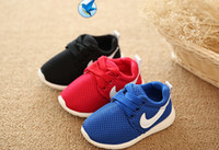 Wholesale Kids Tie Blue - Spring Autumn Children Shoe Breathable Comfortable Kids Sneakers Boys Girls Toddler Shoes Blue+Red+Black Baby Size21-25