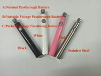 Mini evod evod usb passthrough Precalentamiento de la batería de voltaje variable para el vidrio o pluma vape bud toque CE3 cartuchos pulverizador hash aceite grueso de fumar