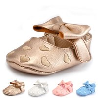 Wholesale Big Jane - PU Leather Newborn Baby Girls Princess Heart-Shaped Mary Jane Big Bow Prewalkers Soft Bottom Shoes Crib Babe Ballet Dress Shoes 0101136