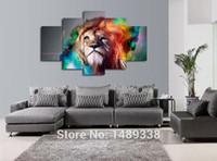 tuval boyaları satışı toptan satış-5 Parça Renkli Aslan Boyama Duvar Sanatı için Büyük Hayvan Tuval Resimleri Sonrası Baskılar Kanepe Arka Plan Dekorasyon Sıcak Satış