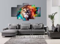 Wholesale Large Wall Pictures For Sale - 5 Piece of Colorful Lion Painting Wall Art Large Animal Canvas Pictures Post Prints for Sofa Background Decoration Hot Sale