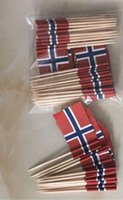kek kekleri toptan satış-Mini Norveç Bayrağı Kağıt Gıda Alır Yemeği Kek Kürdan Cupcake Dekorasyon Meyve Kokteyl Sopa Parti Malzemeleri