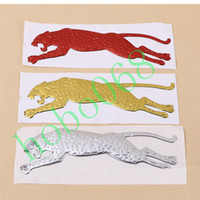 Wholesale Leopard Car Accessories - 100pcs lot Car Vehicle Decoration Running Leopard Stickers Stero Personality Exterior Accessories AUTO BODY DECAL DIY